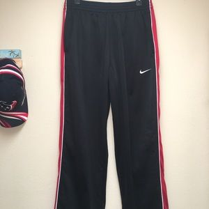 NIKE Black w/Red Mesh Stripe Athletic Pants Mens L